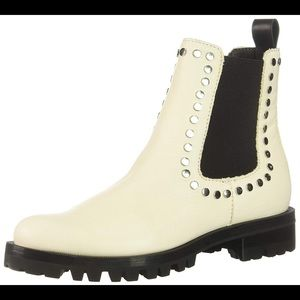 Dolce Vita Off White Leather Stud Booties